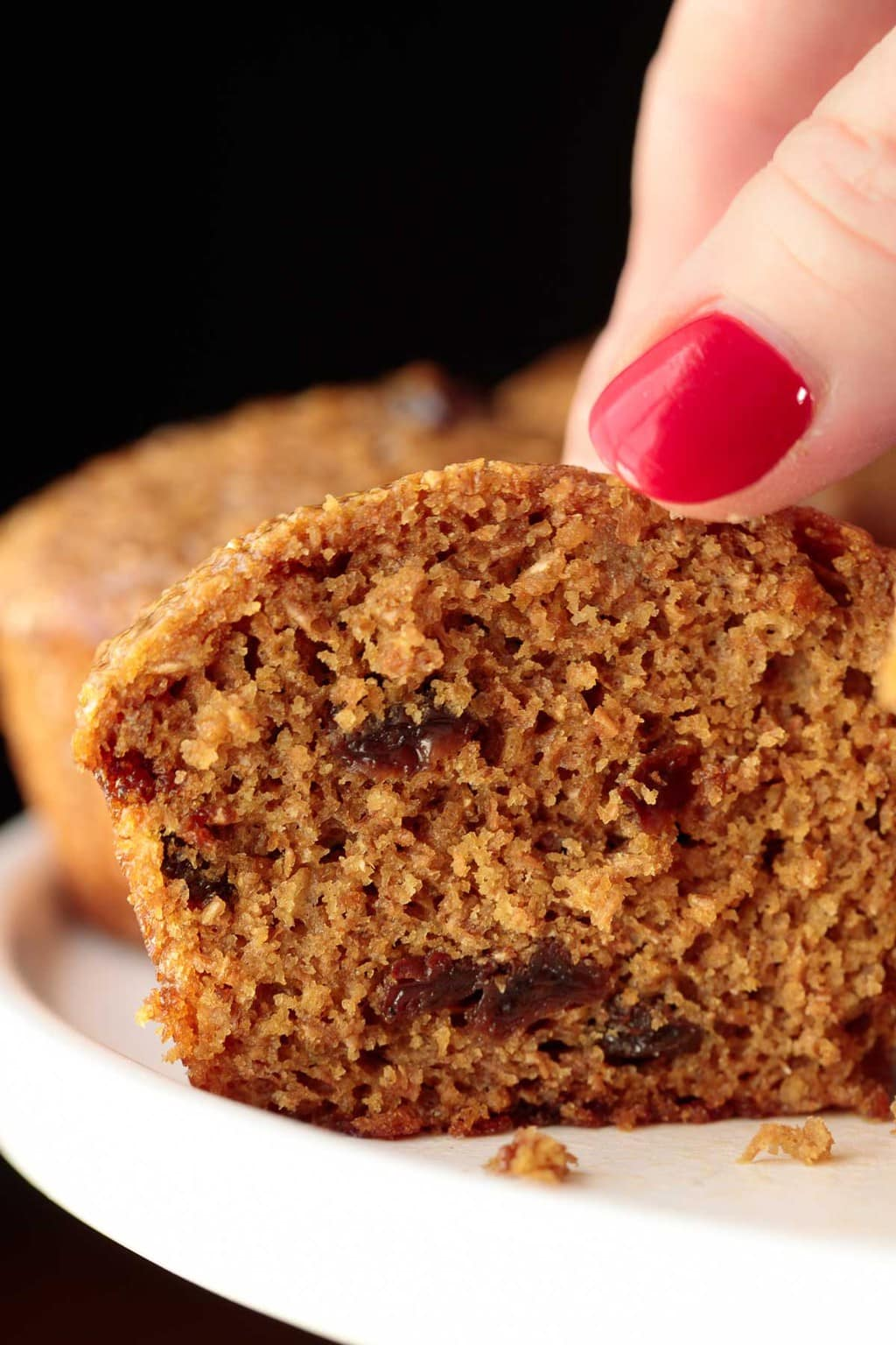 Closeup of the inside of a One Bowl Buttermilk Bran Muffin.