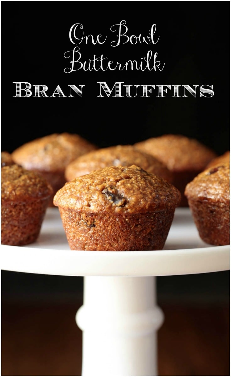 Super moist and delicious, these easy One Bowl Buttermilk Bran Muffins roll out of the oven with rounded, bakery-style, tops! #branmuffins, #easybranmuffins, #easymuffins, #healthymuffins, #onebowl