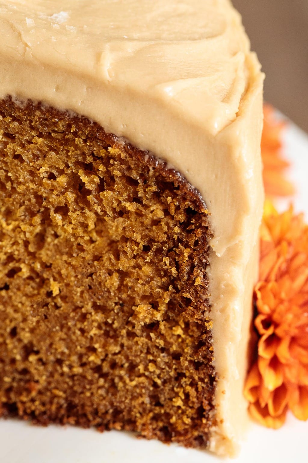 Extreme closeup photo of the inside of a One-Bowl Pumpkin Cake with Salted Caramel Icing.