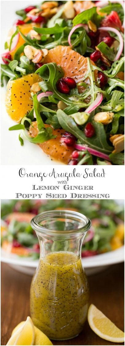 Arugula Orange Salad with Lemon Ginger Salad Dressing - this bright, fresh salad is loaded with delicious seasonal produce. It's sure to chase away the winter blues! thecafesucrefarine.com
