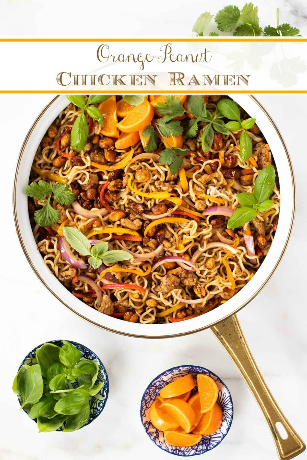 This Orange Peanut Chicken Ramen is an easy, delicious dinner option that\'s loaded with lots of fresh veggies, lean chicken, tender ramen noodles and crunchy stir-fried peanuts. The sweet, gingery Asian sauce ties it all together! #chickenramen, #easychickendinner #asianchickendinnerP #peanutchickenramen