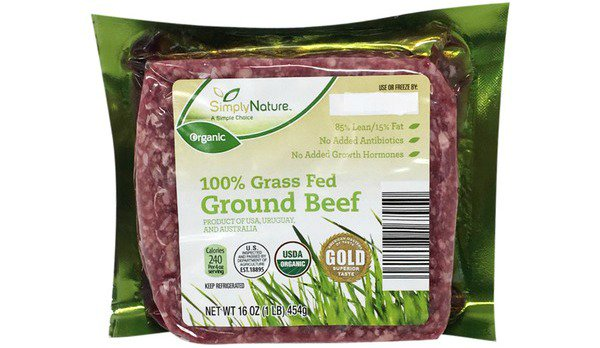 Stock photo of a package of Aldi Simply Nature 100% Grass Fed Ground Beef.