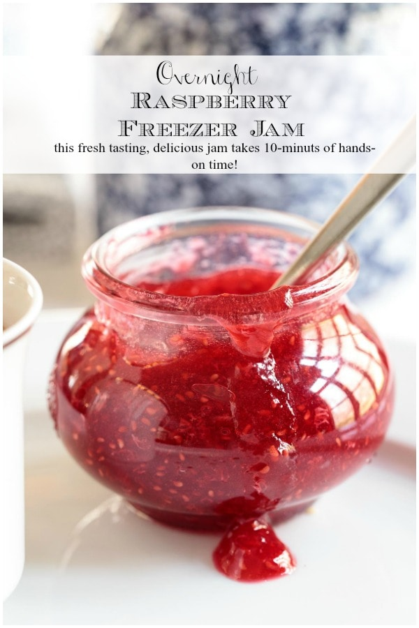 This fresh-tasting raspberry freezer jam, prepared with frozen berries, can be made any time of year! And it takes less than 10-minutes of hands-on time!! #raspberryjam, #freezerjam, #easyjam