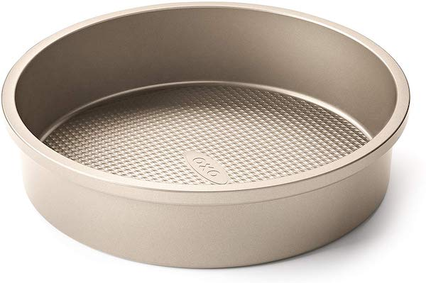 Stock photo of an Oxo gold cake pan.