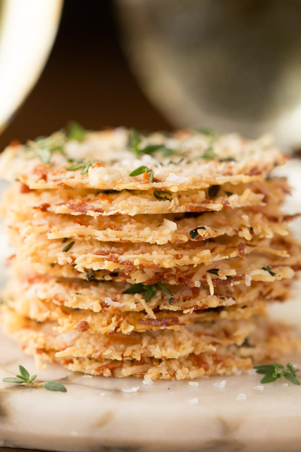 Close up vertical picture of parmesan crisps stacked