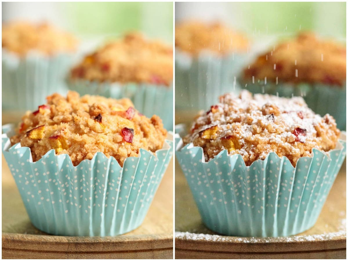 Vertical photo collage of two ways to top Easy Peach Crumble Muffins.