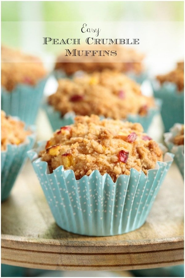 Easy Peach Crumble Muffins