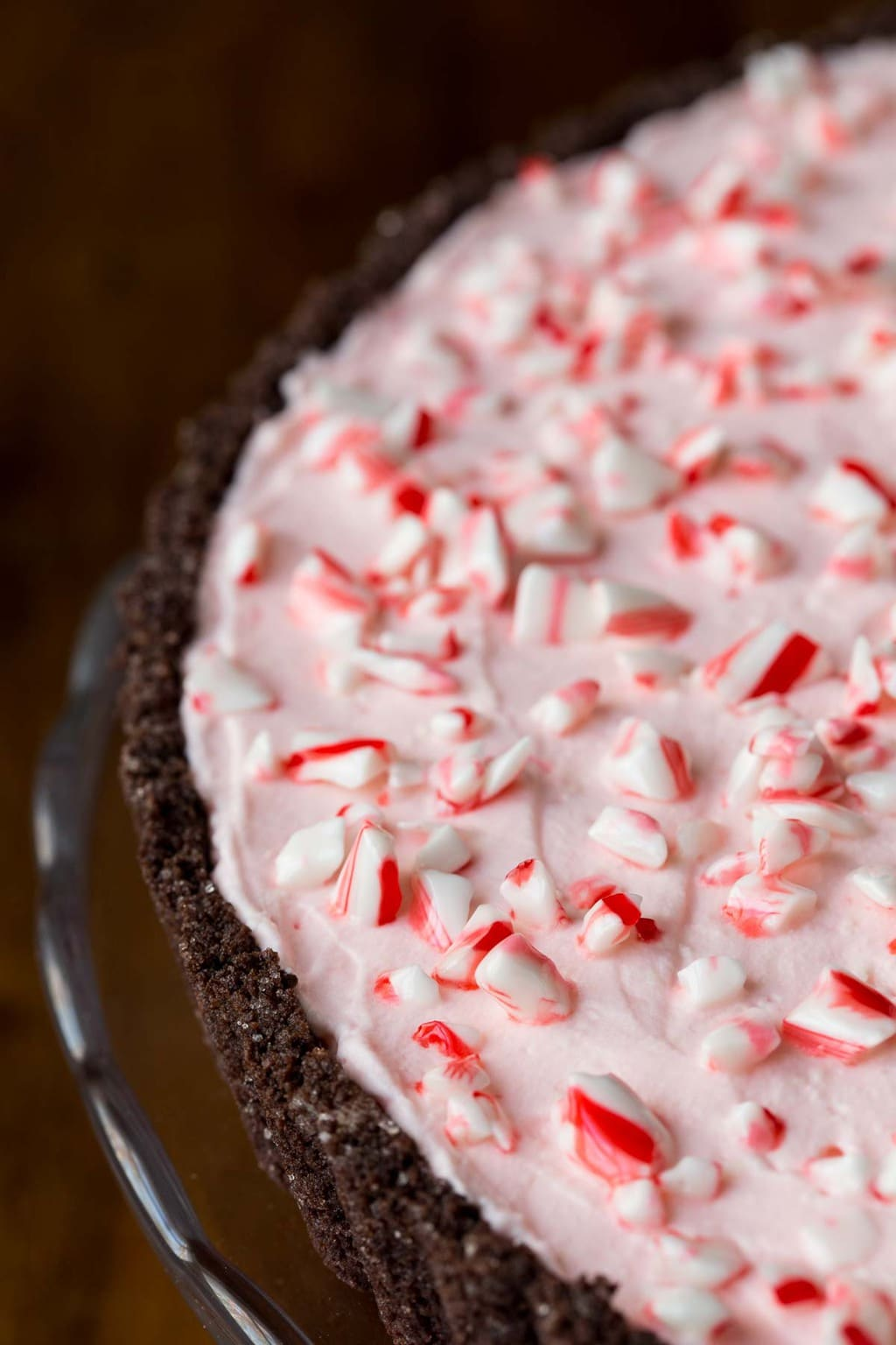 Closeup photo of the top and side of a Peppermint Candy Cane Tart.