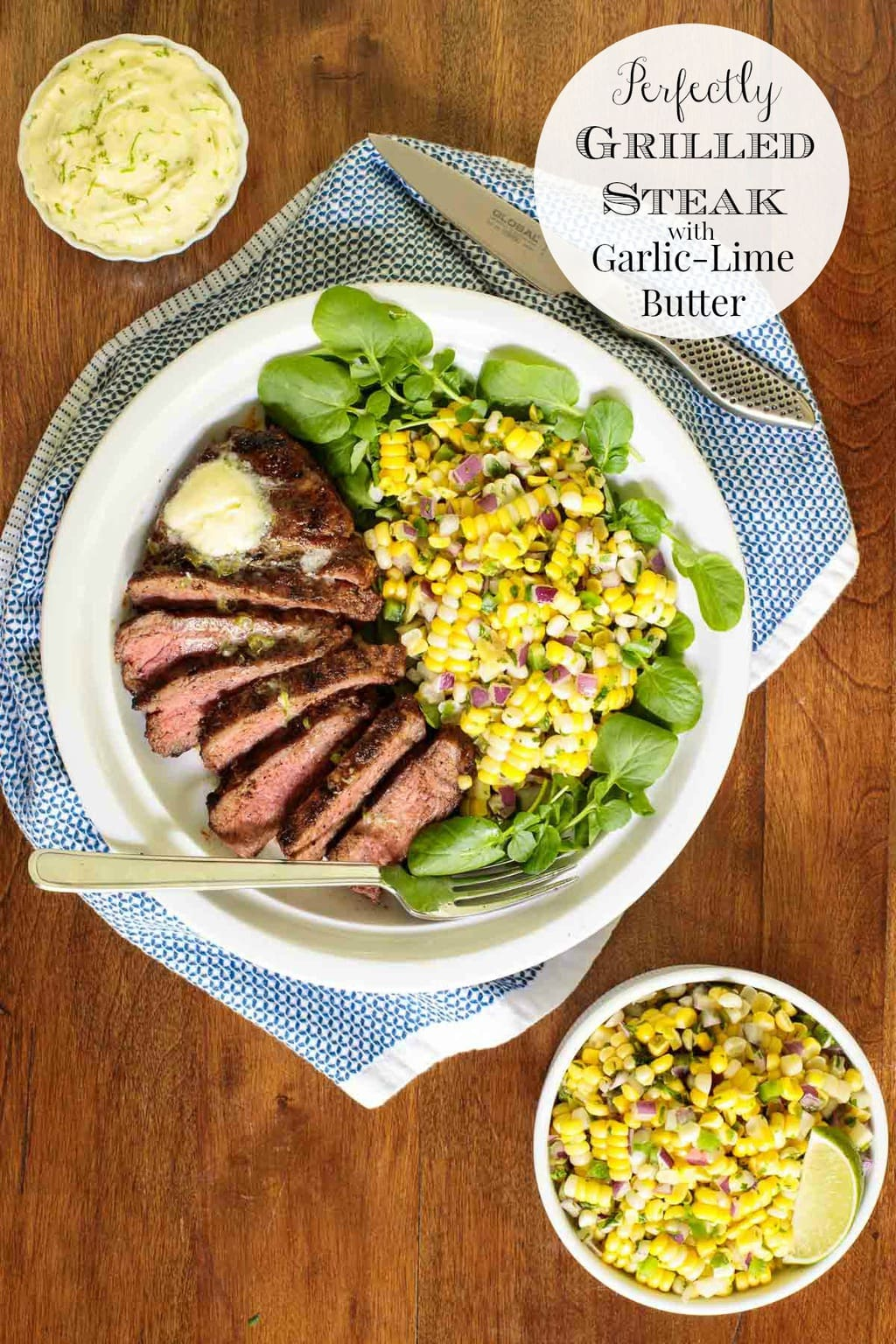 With a delicious Mexican-inspired dry rub, melting garlic lime butter and a few easy grilling tricks this recipe for perfectly grilled steak is sure to become a favorite! #perfectlygrilledsteak, #grilledsteak, #grillingsteaktricks, #howtogrillsteak