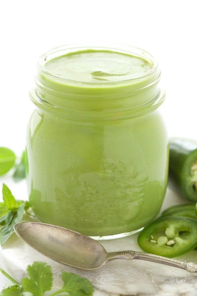 Peruvian Green Sauce - a fresh, vibrant sauce that's delicious drizzled on anything from the grill. Also great on potatoes, rice, drizzled on black beans as a dipping sauce for shrimp.... thecafesucrefarine.com