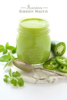 Peruvian Green Sauce - a fresh, vibrant sauce that's delicious drizzled on anything from the grill. Also great on potatoes, rice, drizzled on black beans as a dipping sauce for shrimp....