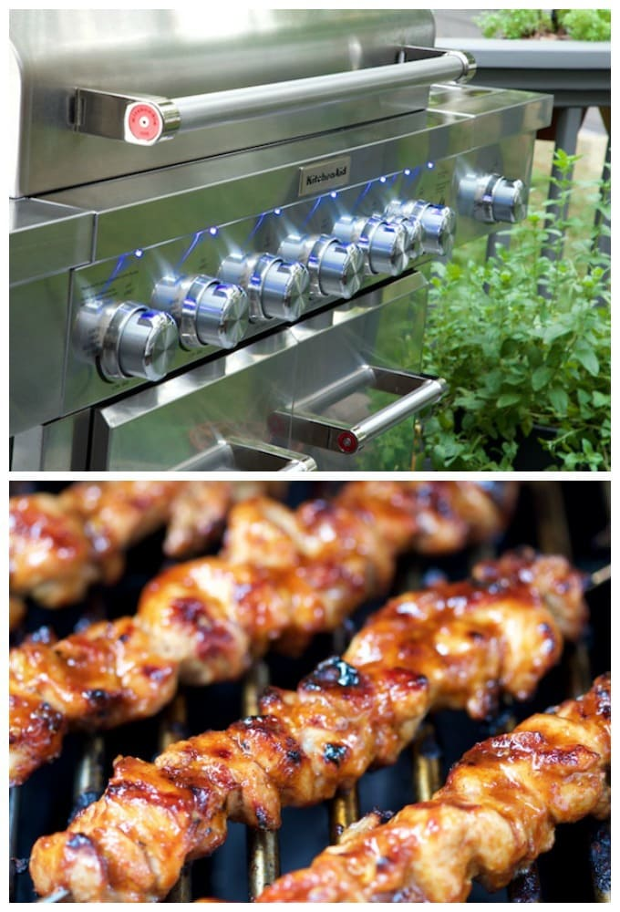 Vertical collage shot of the front of a KitchenAid 8-burner grill and a closeup of Peruvian Grilled Chicken Skewers on the grill.