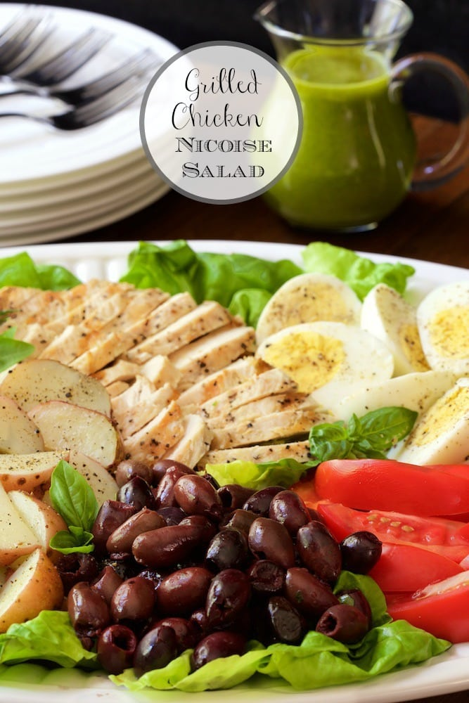 Grilled Chicken Nicoise Salad - a light, fresh, healthy meal from the grill! And the Basil Anchovy Dressing takes it to a new level of deliciousness! thecafesucrefarine.com