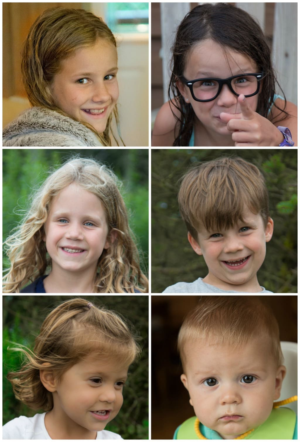 Collage of individual portraits of happy children on vacation in the North Carolina Mountains