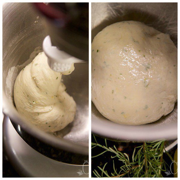 Side by side process photos of Lemon Rosemary Flatbread Crackers dough in a mixer being kneeded by the machine.