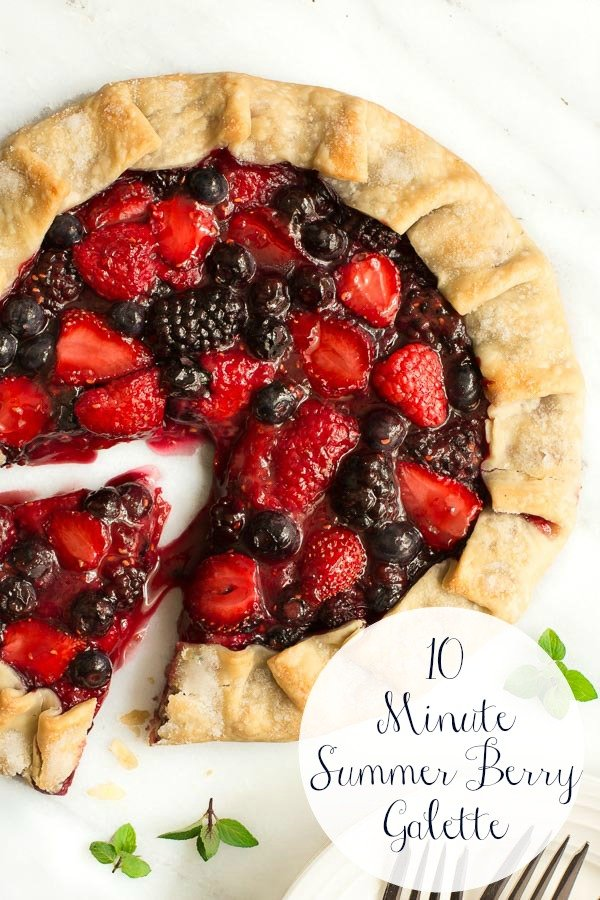 A quick (only 10 minutes prep time), easy and super delicious summer berry galette that's perfect for entertaining, yet simple enough for a weeknight splurge. #berrygalette #summerdessert #easydessert