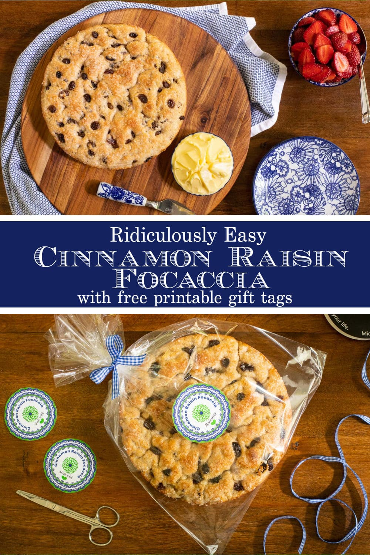 Ridiculously Easy Cinnamon Raisin Focaccia