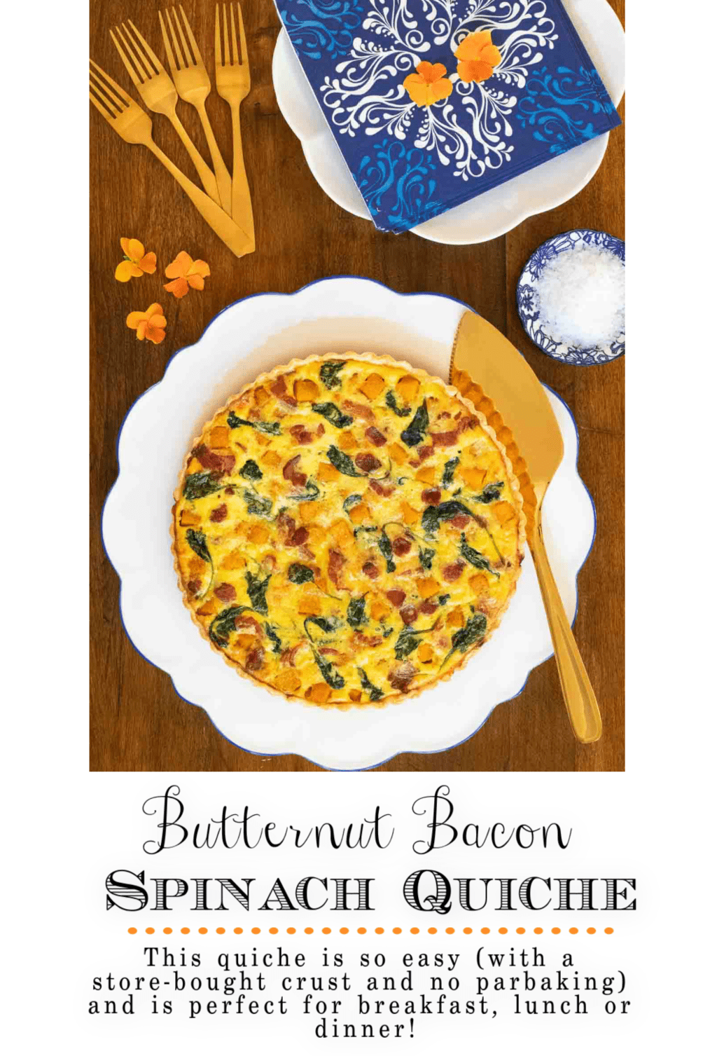 Butternut Bacon Spinach Quiche