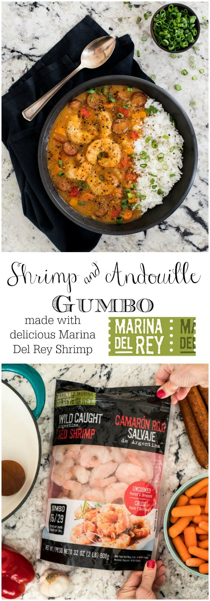 Perfect for entertaining, this Shrimp and Andouille Gumbo is loaded with succulent shrimp, spicy sausage and lots of fresh veggies! #shrimpandandouillegumbo #gumborecipe