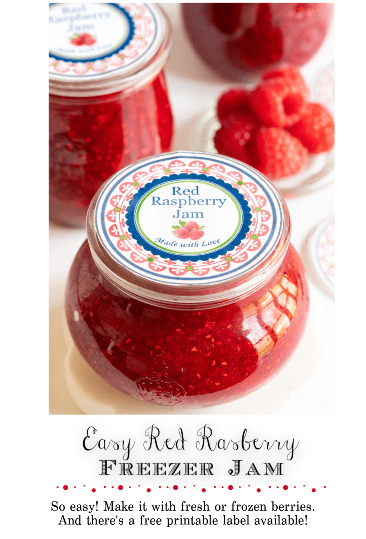 Easy Raspberry Freezer Jam (with fresh or frozen berries!)