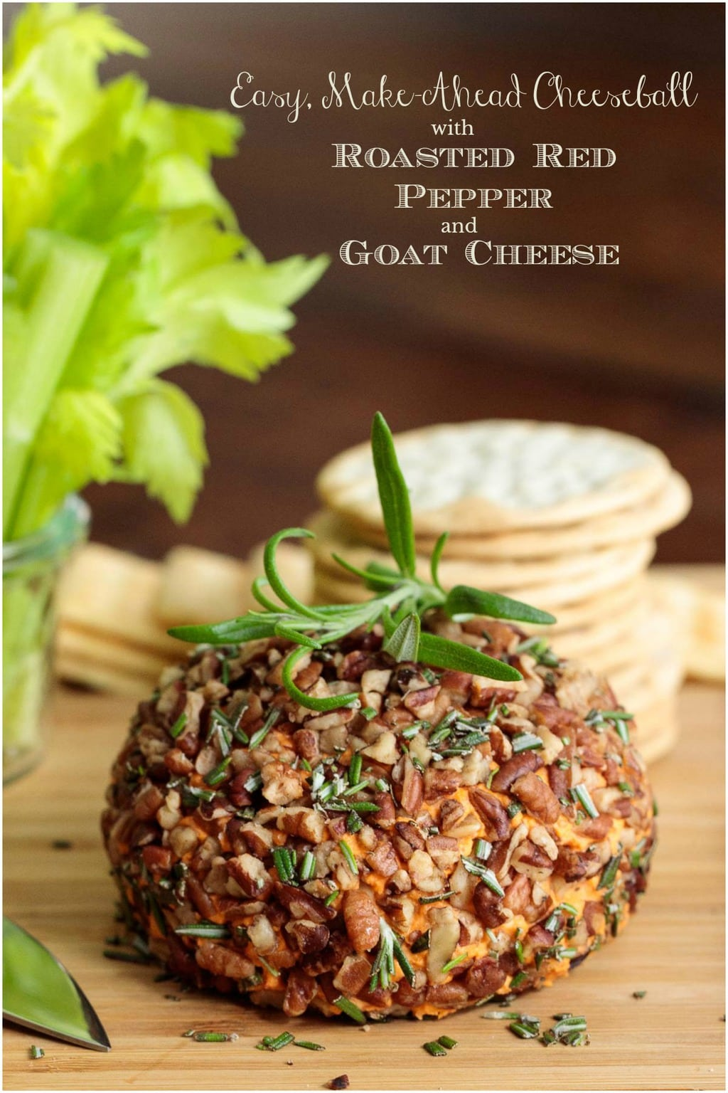A quick, easy, super delicious appetizer that will bring wows! This make-ahead Roasted Red Pepper Goat Cheese Ball is party-perfect! #easycheeseball, #goatcheese, #roastedredpeppers, #easyappetizer