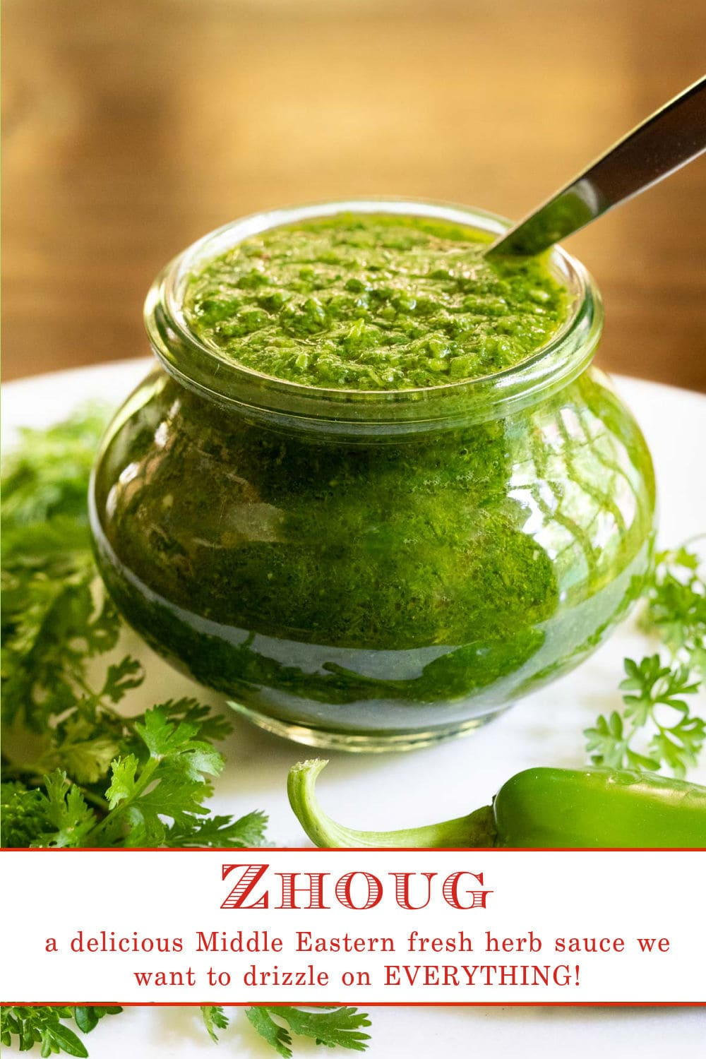 Zhoug (aka Zhug, Shug orSkhug) - a delicious sauce you\'ll want to drizzle on everything!