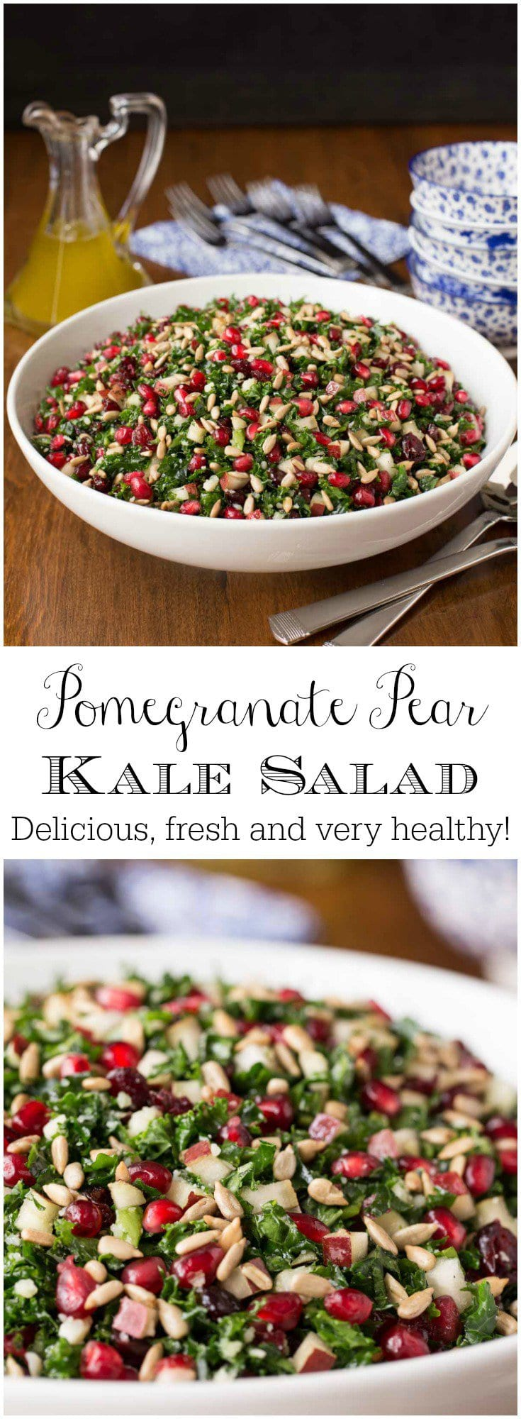 This delicious Pomegranate Pear Kale Salad is loaded with fresh, healthy ingredients. The simple, vibrant lemon dressing ties it all together.