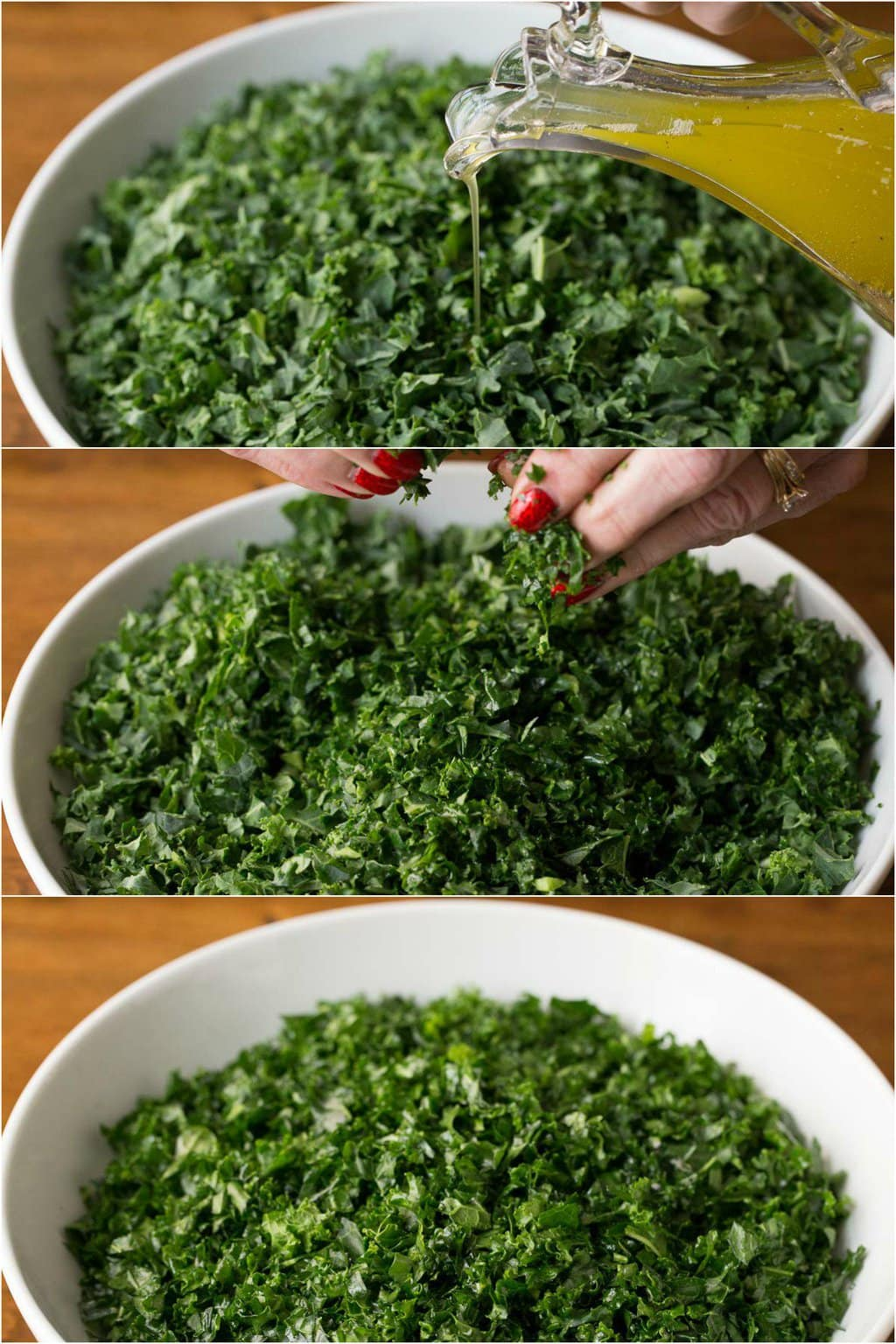 Step by step photos of massaging the kale in a Pomegranate Pear Kale Salad.