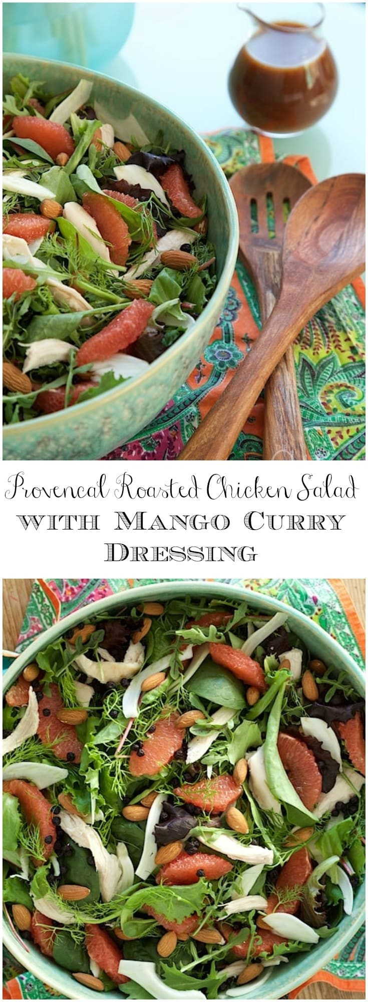 This Provencal Roasted Chicken Salad with Mango Curry Dressing has bright, delicious flavors that hearken back to a trip to Provence region of France.