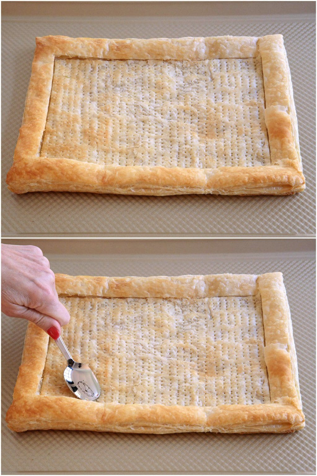 Collage of photos demonstrating how to press down the crust for an Easy Savory Puff Pastry Tart.