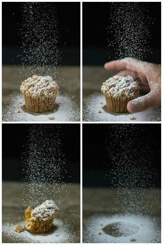 Sequence collage of a Pumpkin Crumb Muffin being sprinkled with powdered sugar as a hand reaches in, then part of the muffin is missing, then all of the muffin is gone and just the powdered sugar is still falling.