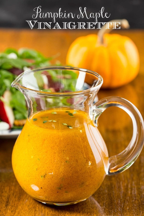 This vibrantly-hued, throw-it-all-in-a-jar-and-shake, Pumpkin Maple Vinaigrette is delicious drizzled over all kinds of autumn salads.