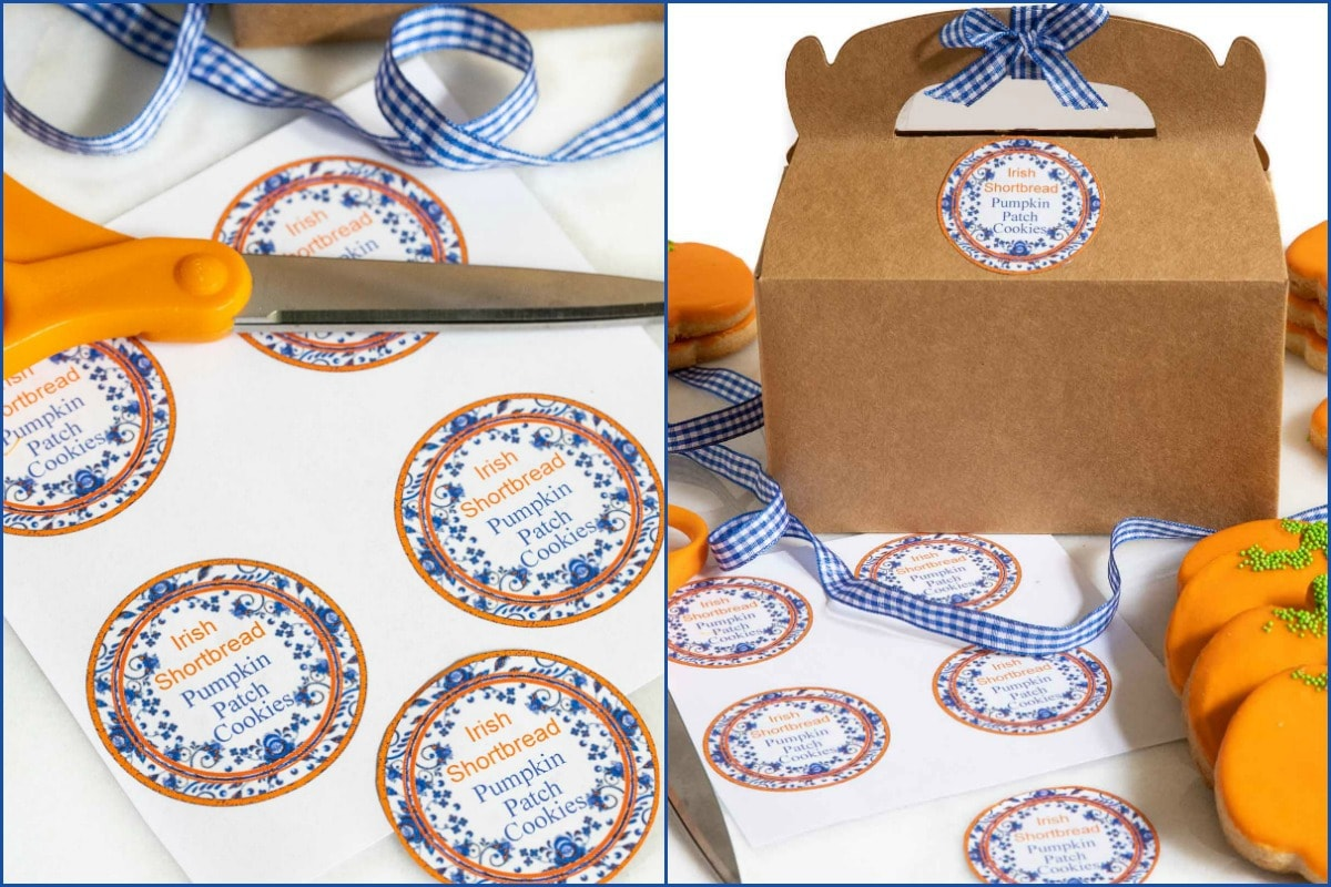 Horizontal collage of photos of Irish Shortbread. Pumpkin Patch Cookie labels for gift giving.