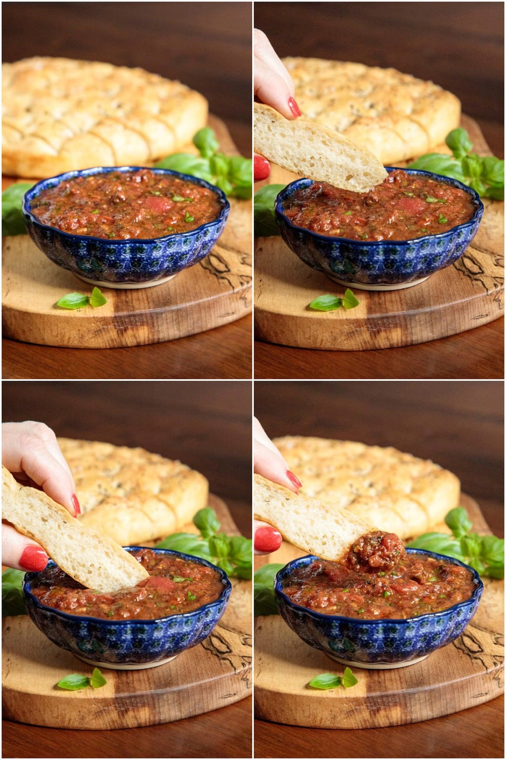 Vertical 4-photo collage of a person dipping a slice of Focaccia bread into a blue patterned bowl filled with Quick and Easy Marinara Sauce.