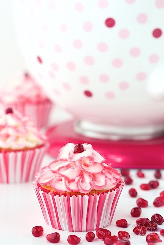 Raspberry Pomegranate Swirl Cupcakes
