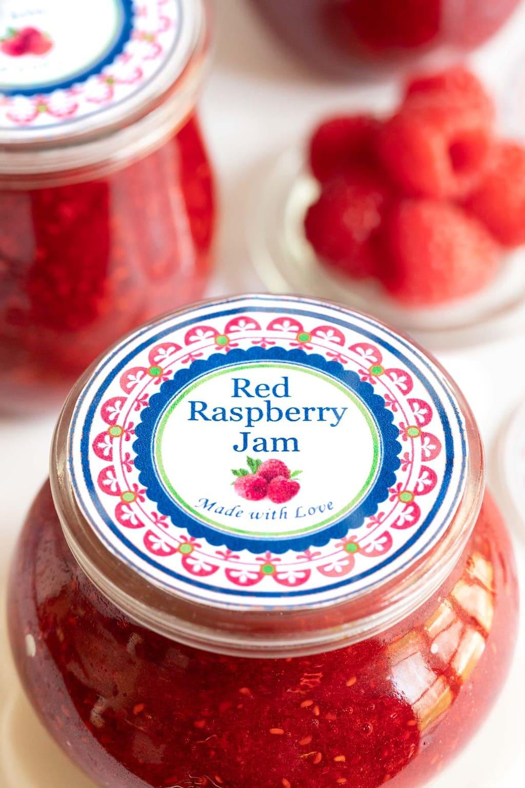 Vertical closeup photo of the custom gift label for Easy Raspberry Freezer Jam.