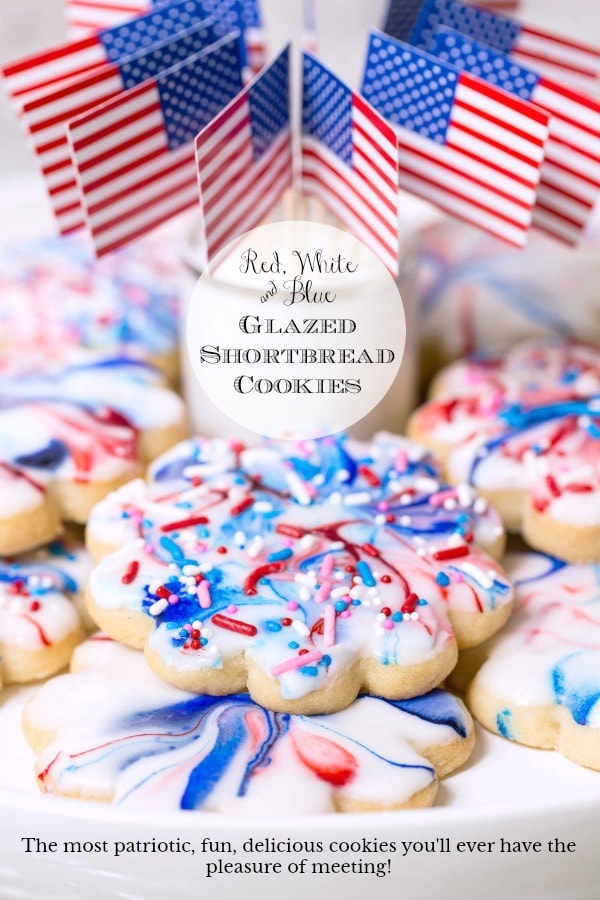 Red, White and Blue Glazed Shortbread Cookies