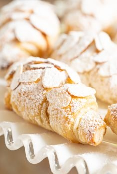 Vertical closeup photo of Easy Almond Croissants.