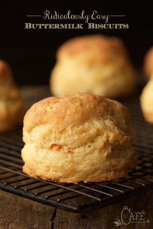 Ridiculously Easy Buttermilk Biscuits - easy as in, less than 10 minutes to throw together. Next thing you know, tall, flaky, incredibly delicious biscuits will be rolling out of your oven! thecafesucrefarine.com