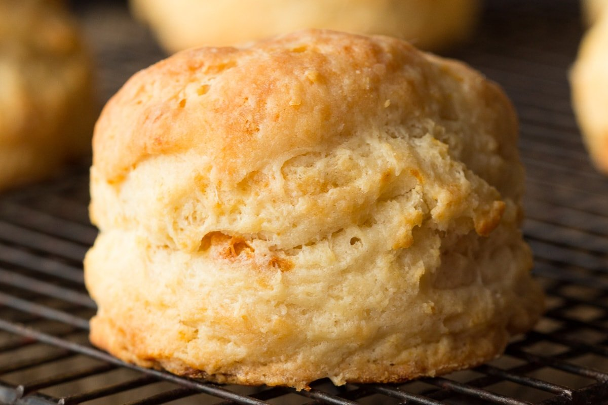 Horizontal closeup photo of a Ridiculously Easy Buttermilk Biscuit on a cooling rack.