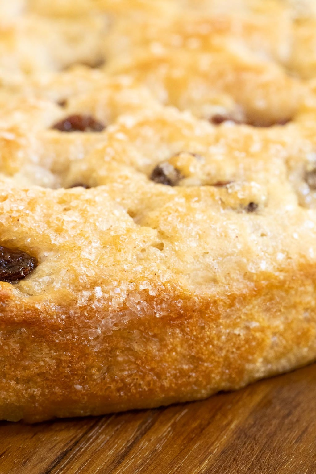 Vertical extreme closeup photo of the side of a loaf of Ridiculously Easy Cinnamon Raisin Focaccia.