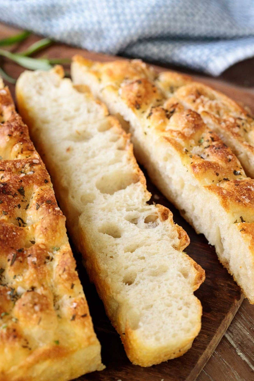 Closeup photo of slices of Ridiculously Easy Focaccia Bread.