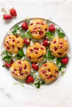 Overhead picture of Strawberry Scones on a round platter