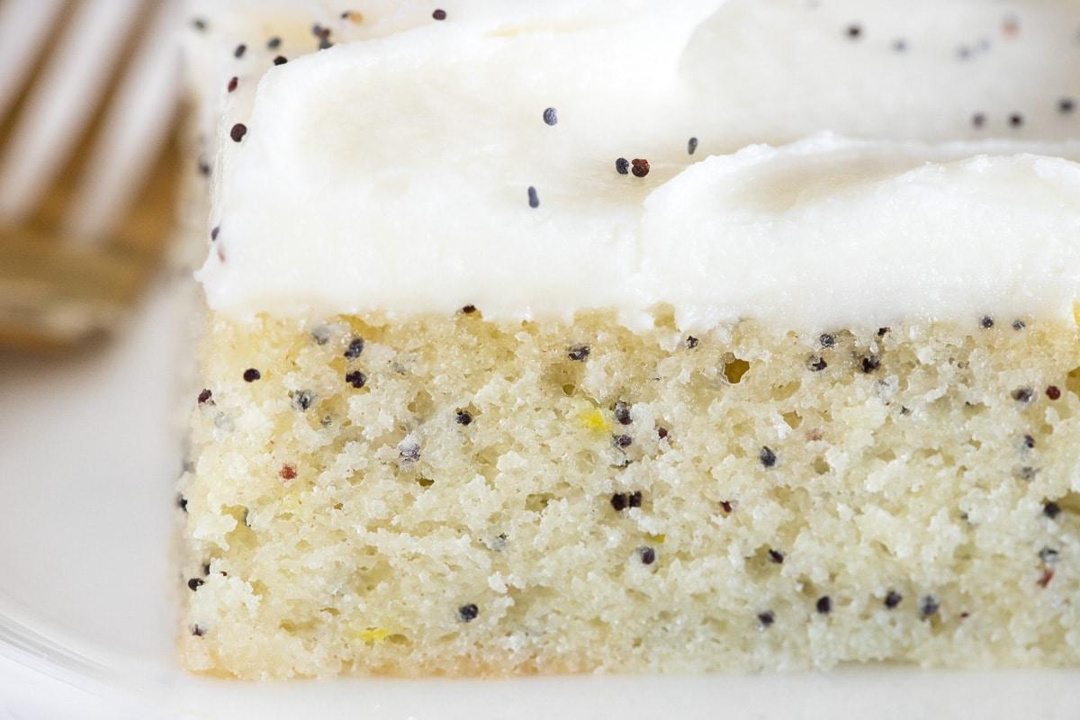 Extreme closeup horizontal photo of a slice of Ridiculously Easy Lemon Poppy Seed Sheet Cake.