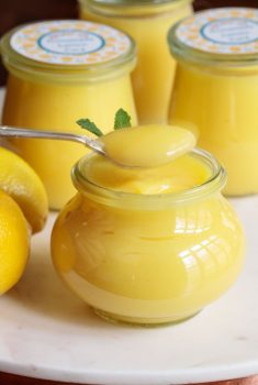 Vertical picture of Easy Microwave Lemon Curd in glass jars
