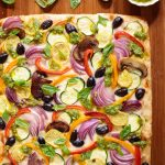 Overhead picture of easy roasted veggie pizza