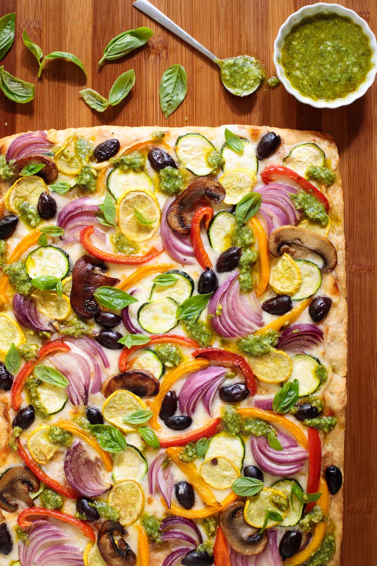 Overhead photo of a Ridiculously Easy Roasted Veggie Pizza.