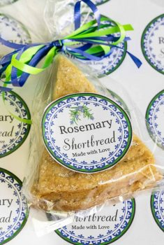 Vertical picture of Rosemary Shortbread in a bag with a label