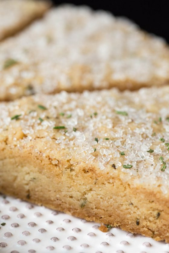 Closeup vertical photo of the inside of Ridiculously Easy Rosemary Shortbread.