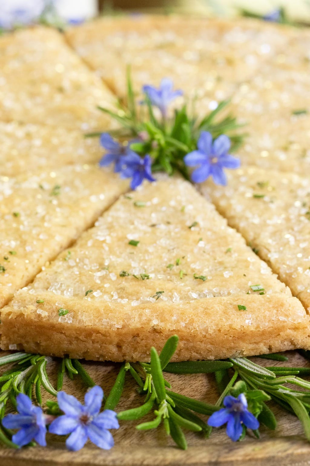 Closeup photo of a pie cut pan of Ridiculously Easy Rosemary Shortbread decorated with tiny blue flowers.